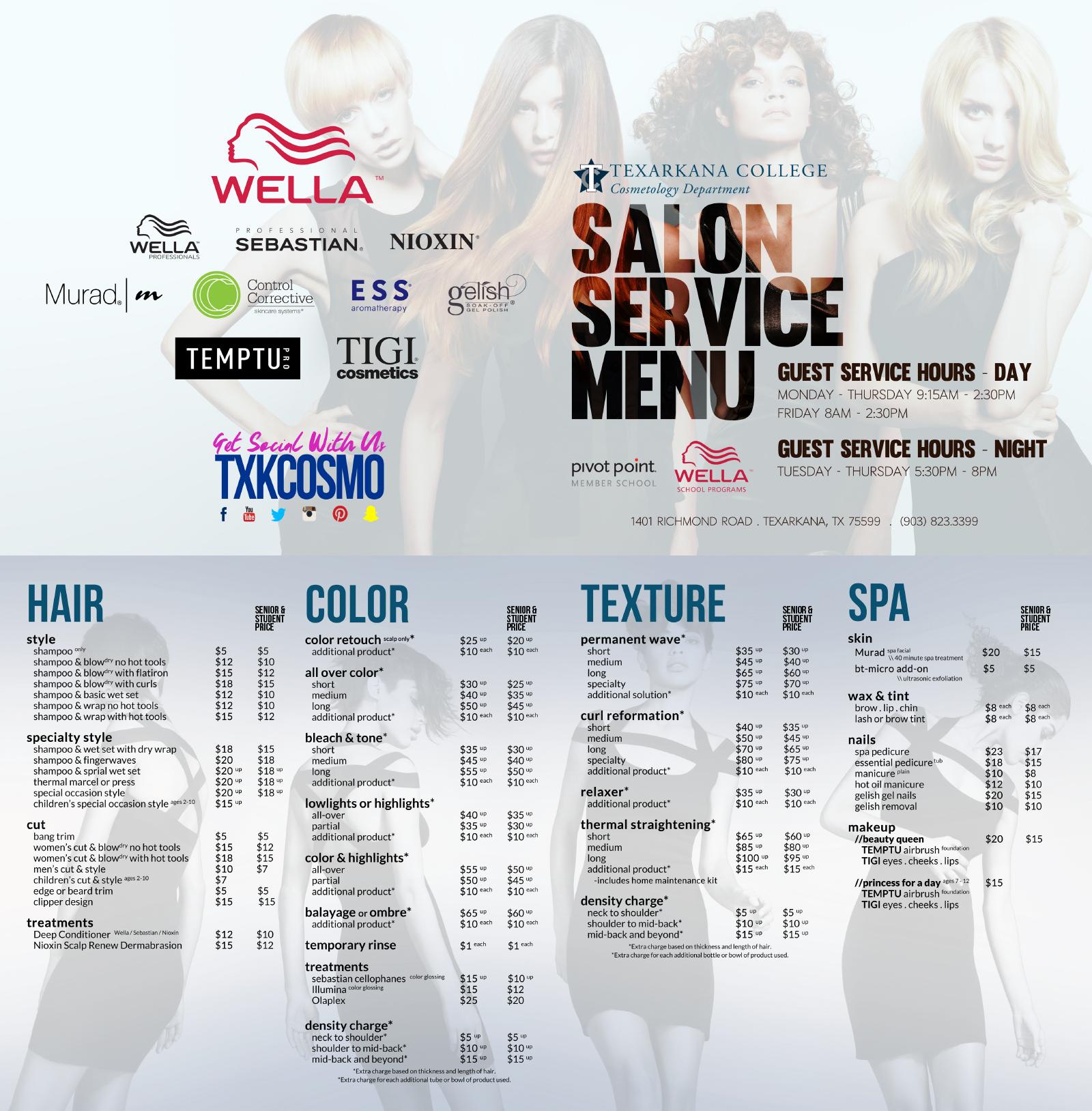 Cosmetology Salon Service Menu 2016-2017