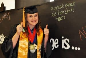 McKenzie Madill poses backstage at Texarkana College's Spring 2016 commencement ceremony.