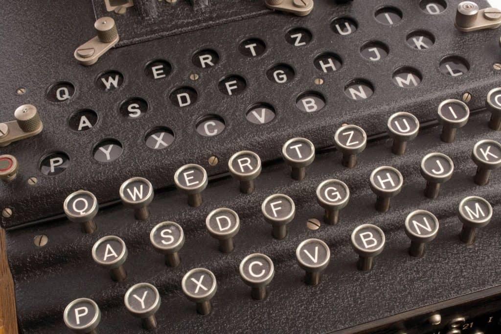 Closeup of typewriter keyboard