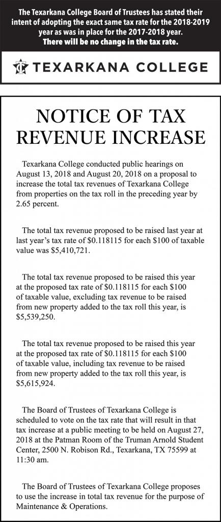 Notice of Tax Revenue Increase