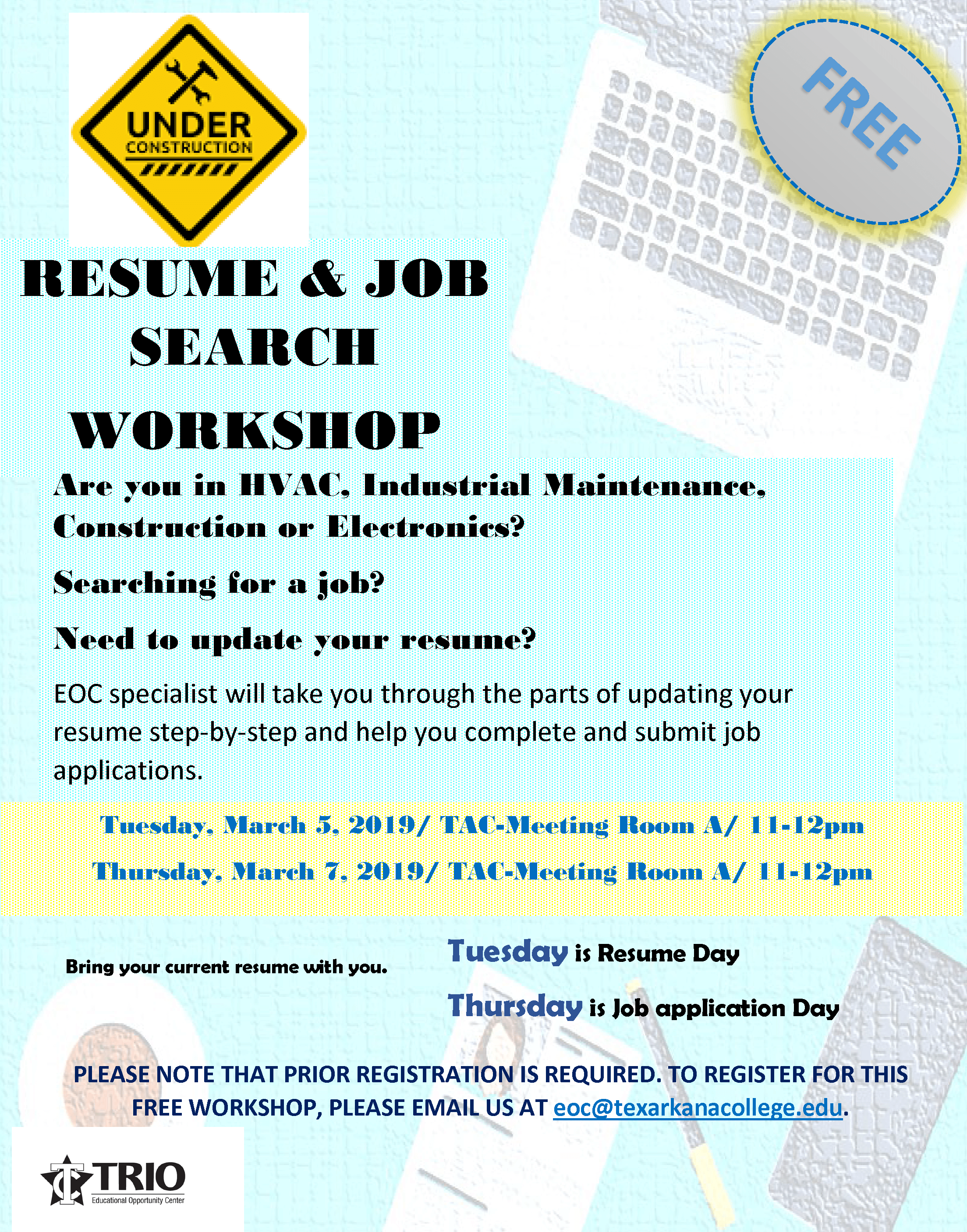 EOC Resume Workshop flyer