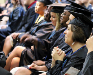Students wait for graduation to begin.
