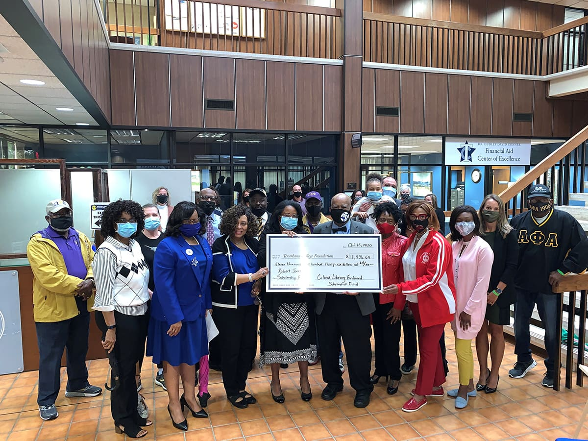 The Robert Jones Endowed Scholarship Fund at Texarkana College received a donation today from the Colored Library Scholarship fund in the amount of $11,436.