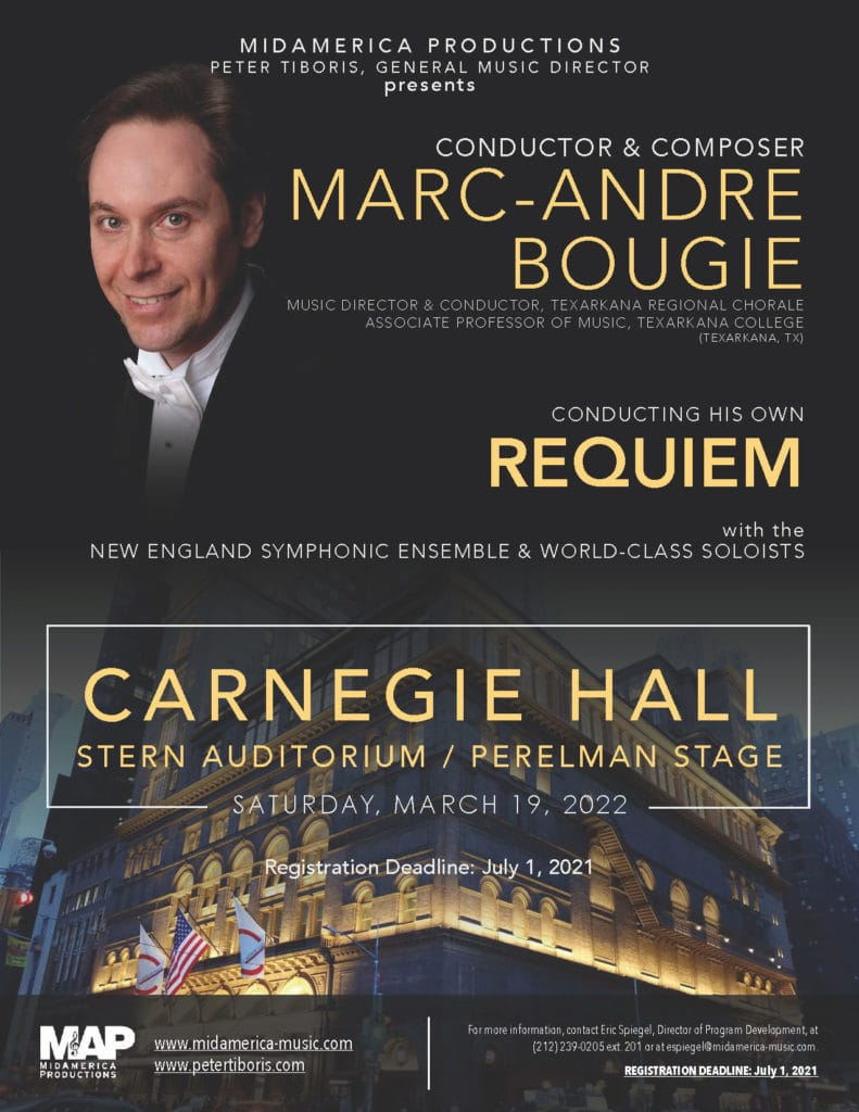 poster of upcoming Carnegie Hall performance of the Marc-Andre Bougie Requiem