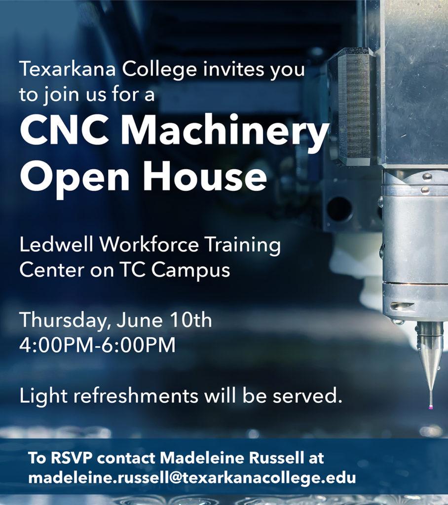 CNC Machinery Open House Invite - closeup of CNC machine